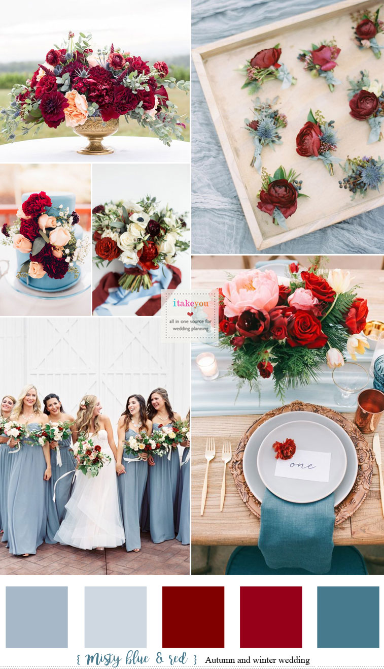 Misty blue and Red Hues { Auburn + Burgundy + Carmine } Autumn & Winter Wedding