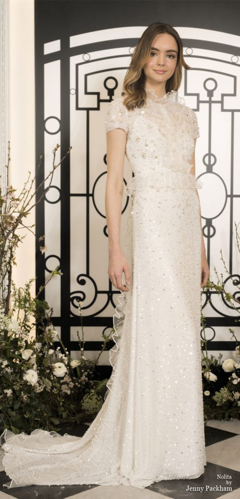 Spring 2020 Bridal Collection by Jenny Packham - Pure elegance embellishment bodice sheath Wedding Dress  #weddingdress #weddingdresses #wedding #bridalgown #bridedress