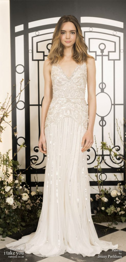 Spring 2020 Bridal Collection by Jenny Packham - Pure elegance sleeveless embellishment bodice sheath Wedding Dress  #weddingdress #weddingdresses #wedding #bridalgown #bridedress