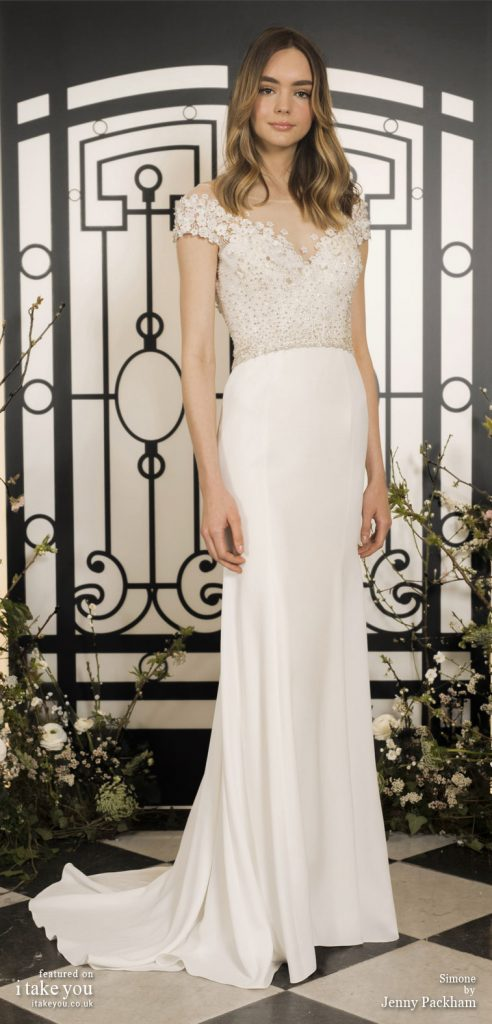 Spring 2020 Bridal Collection by Jenny Packham - Pure elegance short sleeve embellishment bodice sheath Wedding Dress  #weddingdress #weddingdresses #wedding #bridalgown #bridedress
