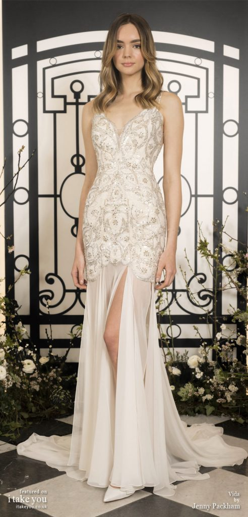 Spring 2020 Bridal Collection by Jenny Packham - Pure elegance sleeveless embellishment bodice Wedding Dress  #weddingdress #weddingdresses #wedding #bridalgown #bridedress