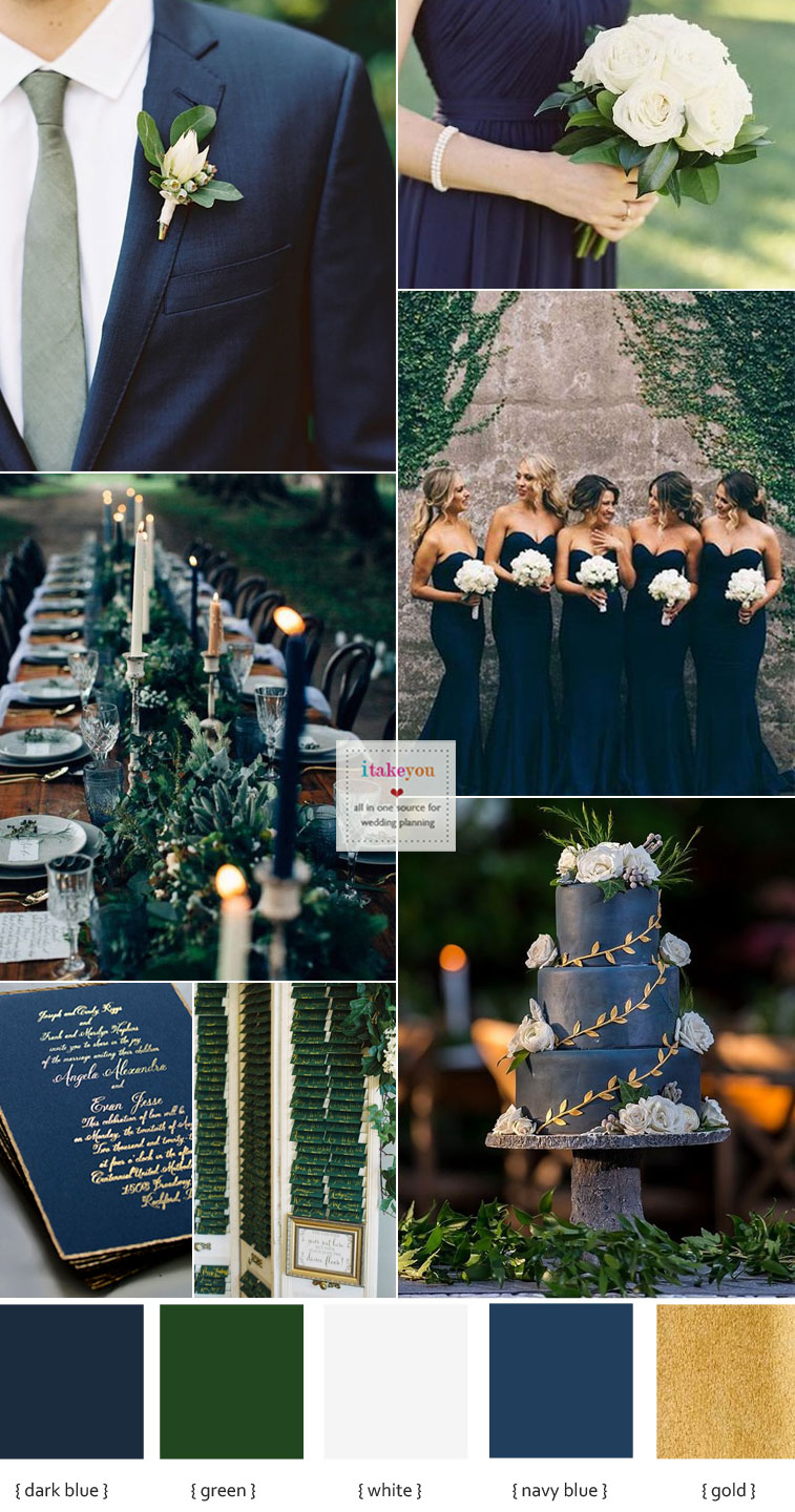 Green Navy Blue and White Wedding Ideas
