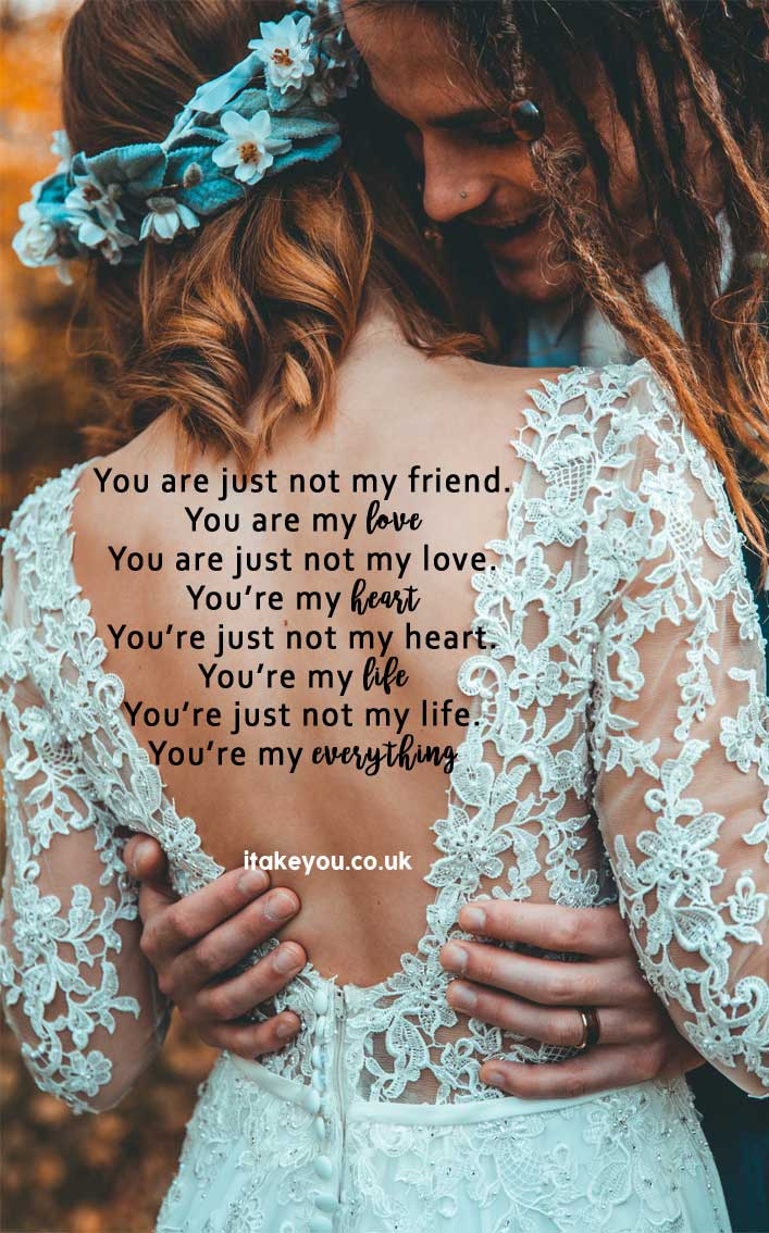100 Beautiful quotes on love and marriage - love quotes , Inspiring Marriage Quotes #lovequote #quotes #marriagequotes You're just not my friend. You're my love, You're just not my love. You're my heart, You're not just my heart. You're my life, You're just not my life. You're my everything.