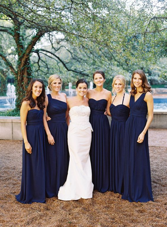 Navy blue bridesmaid dresses with white bouquets - summer wedding #wedding #navyblue #bridesmaids