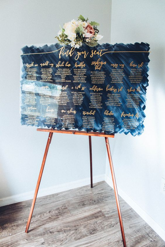 Blue acrylic wedding seating chart #wedding #seatingchart