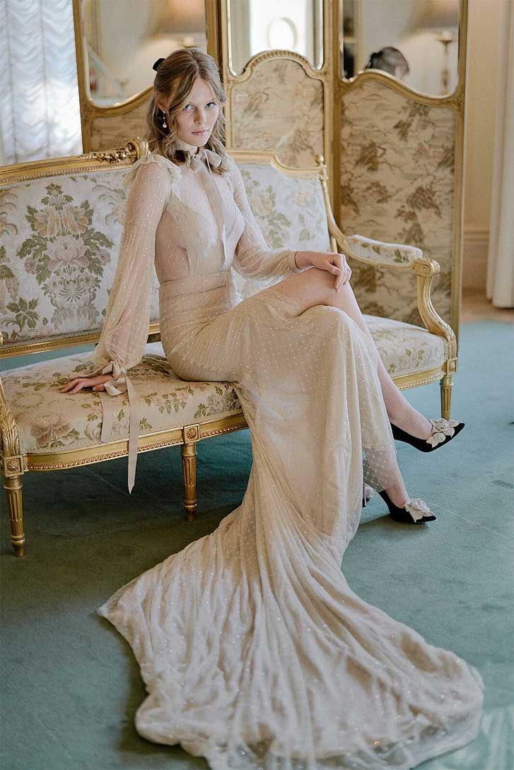 1900s victorian dream bridal styled shoot, neutral wedding gown, nude wedding gown, vintage wedding dress, gorgeous bride is dressed in a designer gown by Jason Grech, elegant bride, vintage bride