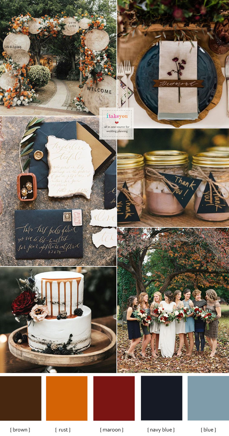 Navy blue + Rust + Brown wedding color combinations | Itakeyou.co.uk