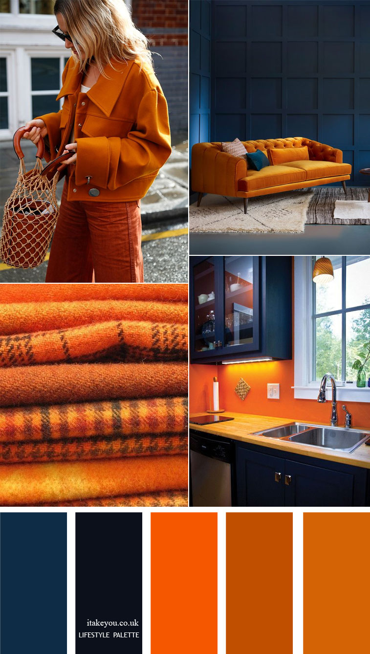 Dark blue and orange colour combos { 15 House Color Palette Ideas }