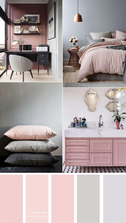 Pink and grey color scheme { 15 House Color Palette Ideas }