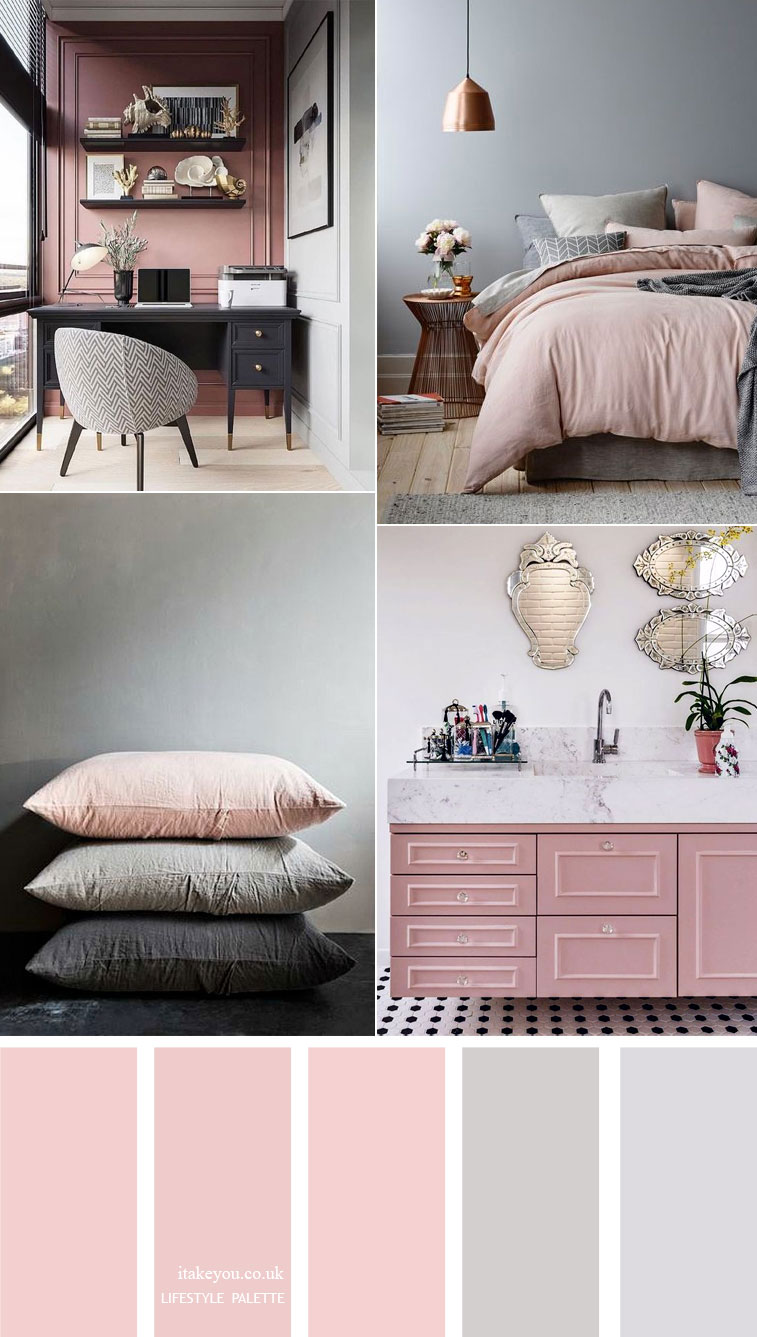 Pink and grey color scheme  { 15 House Color Palette Ideas }