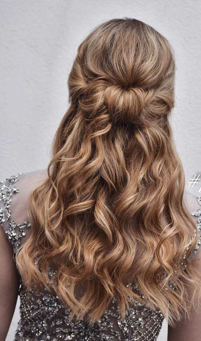Blown away with these 57 beautiful half up half down hairstyles ,textured updo, half up half down bridal hairstyles #weddinghair #weddingupdo #weddinghairstyle #weddinginspiration #bridalupdo half up half down wedding hair, wedding hairstyles, bridal hairstyles, half up half down wedding hair medium length, hair down wedding hairstyles
