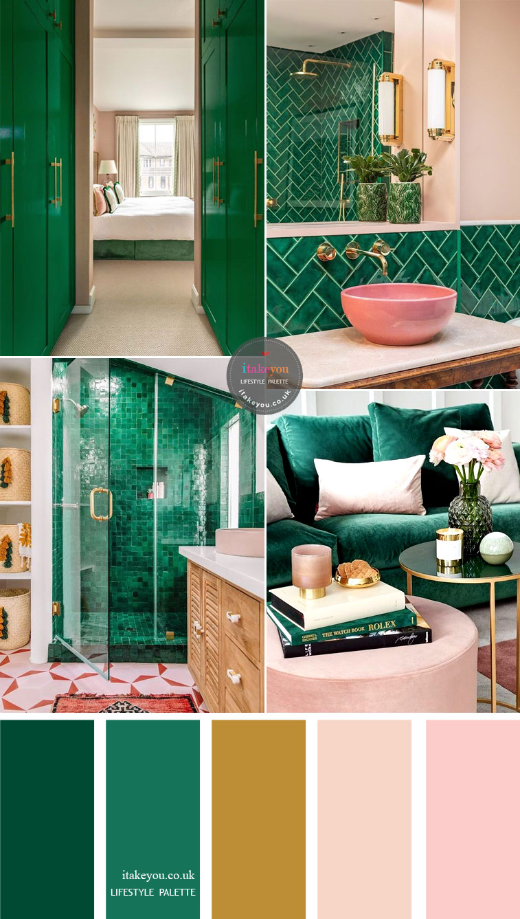 Green emerald with pink and gold accents – Home color palette