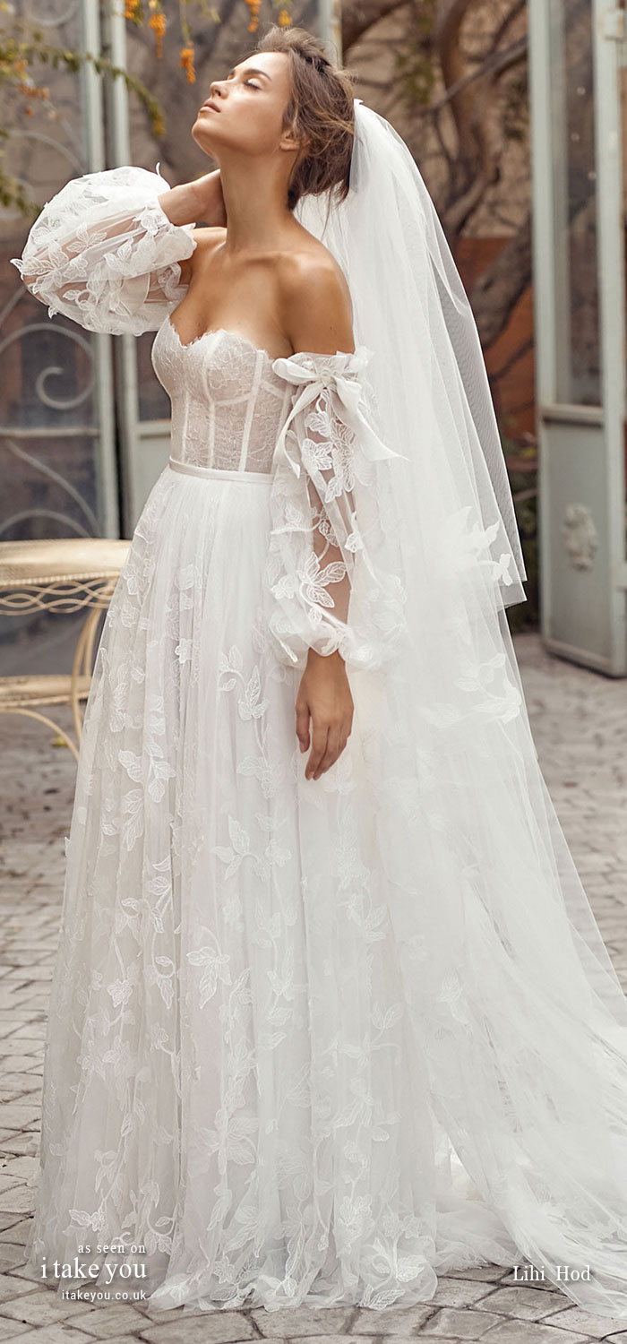 sweetheart neckline a line wedding dress, lihi hod 2020, wedding dresses #weddingdresses