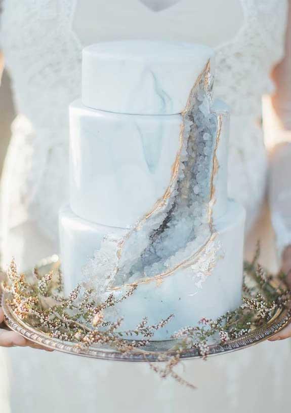 pretty wedding cake, light blue geode wedding cake, wedding cake #weddingcake wedding cakes, blue wedding cake
