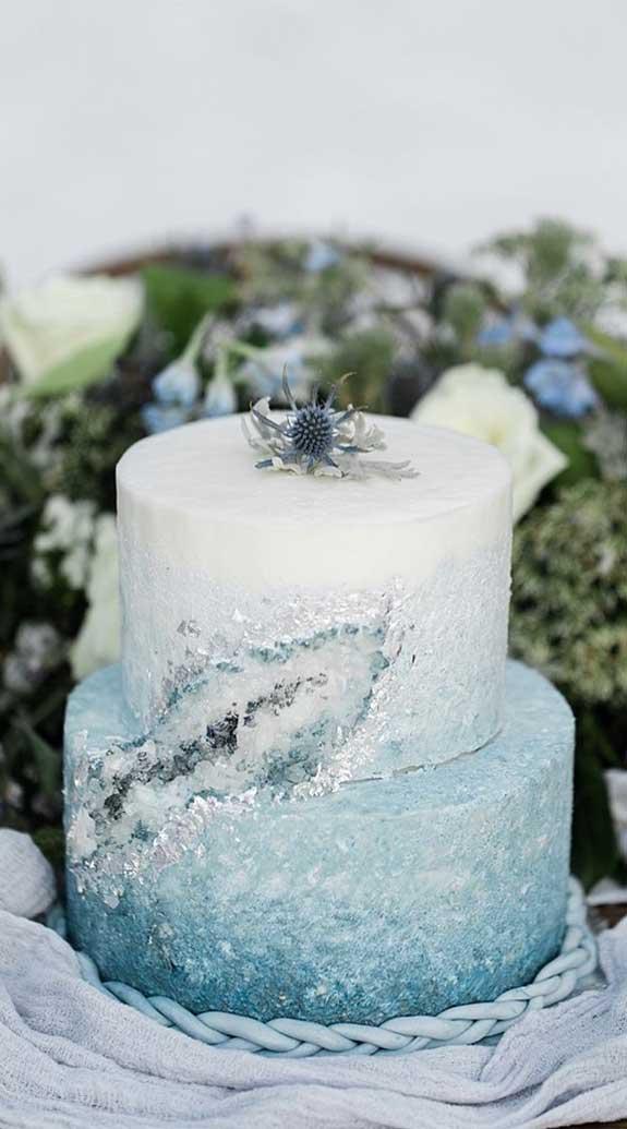 pretty wedding cake, light blue geode wedding cake, wedding cake #weddingcake winter wedding cake
