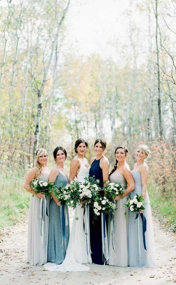 mismatched bridesmaid dresses, blue bridesmaids, ombre blue bridesmaids, bridesmaid dresses , blue bridesmaid dresses #blue #bluewedding