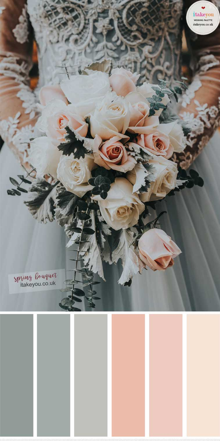 Spring wedding bouquet colors – Sage and Peach Wedding Colors