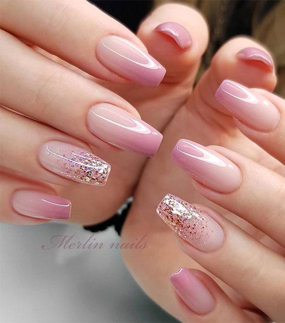 ombre nails, nails, wedding nails natural, bride nails, wedding nails, ombre wedding nails, ombre bridal nails, wedding nails design, wedding nail designs 2020, french ombre nails, gel nails, pink nails
