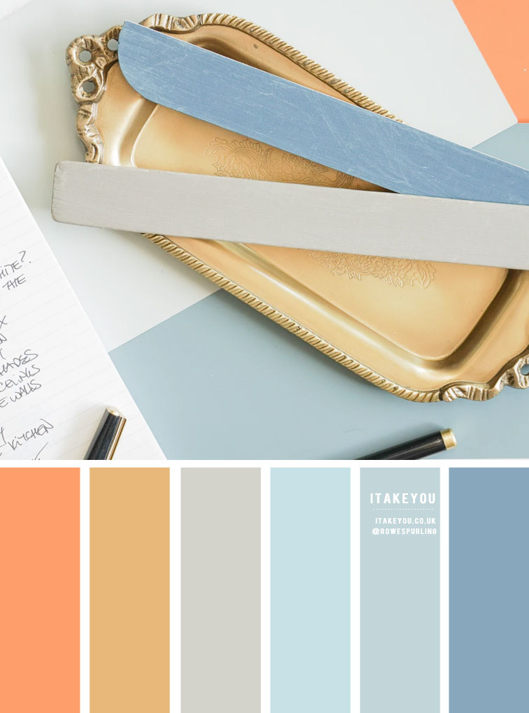 Color Inspiration : Gold , Blue and Grey