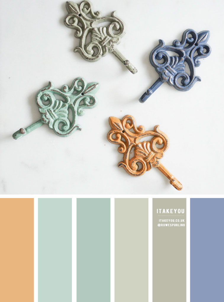 Color Inspiration : Distressed painted iron hooks color inspired