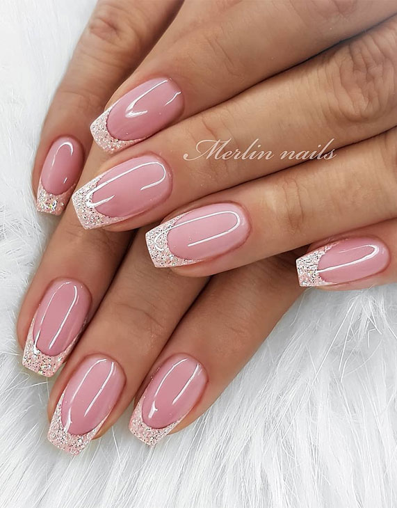 french nails, french manicure, french tip nails, french manicures ideas #frenchnails nail art , nails , nail trends 2020, french nail designs, glitter nails, glitter french nails, gel nails