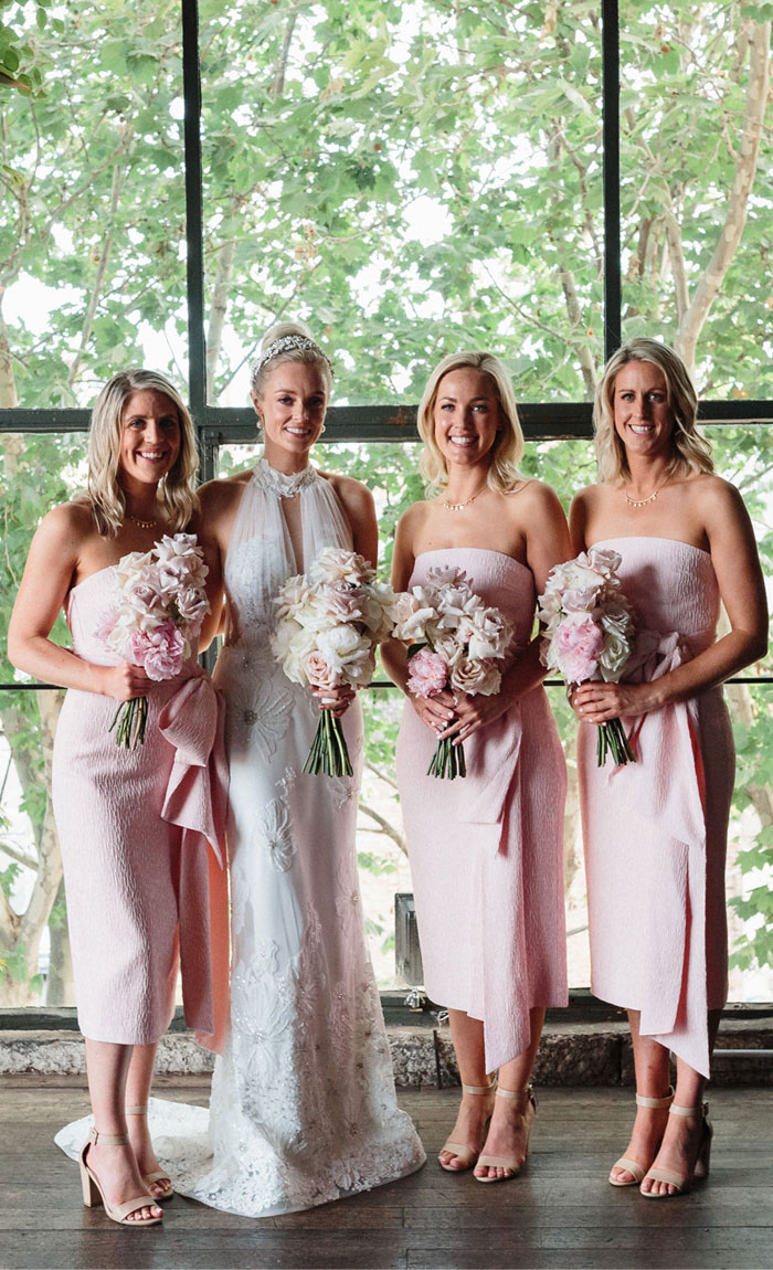 pale pink bridesmaid dress, pale pink with blush bouquets, wedding bouquets , pink wedding bouquets