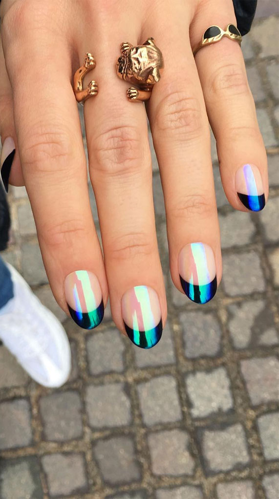 french nails, french manicure, french tip nails, french manicures ideas #frenchnails nail art , nails , nail trends 2020, french nail designs, chrome effect nails, chrome french nails