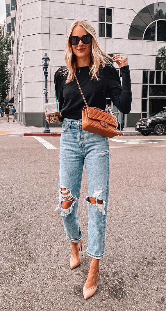 ripped jeans outfits, best spring outfits 2020, best spring fashion 2020, ripped jeans 2020 #springoutfits