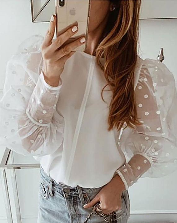 sheer top outfits, sheer mesh top, how to wear a sheer blouse with jeans, white mesh top, white sheer shirt outfit, sheer sleeve tops, best spring outfits, best spring fashion 2020