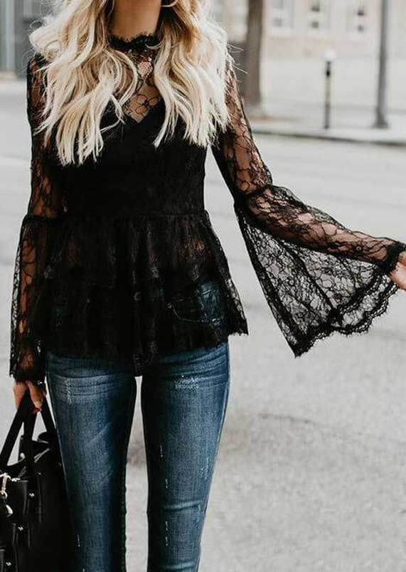 sheer top outfits, sheer mesh top, how to wear a sheer blouse with jeans, metallic mesh top, black sheer shirt outfit, sheer sleeve tops, best spring outfits, best spring fashion 2020 , lace top and jeans