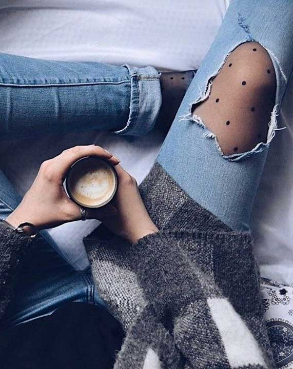 wear tights under ripped jeans, ripped jeans outfits , best spring outfits 2020