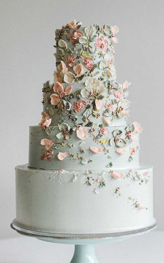floral painted wedding cake, hand painted wedding cakes, hand painted cakes, watercolor cake painting, hand painted buttercream cakes, floral hand painted wedding cake #weddingcake