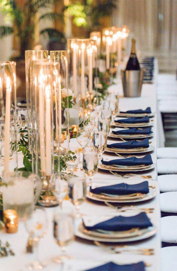 elegant wedding table, blue and gold wedding table decor, wedding table setting, wedding table decor ideas #weddingtable