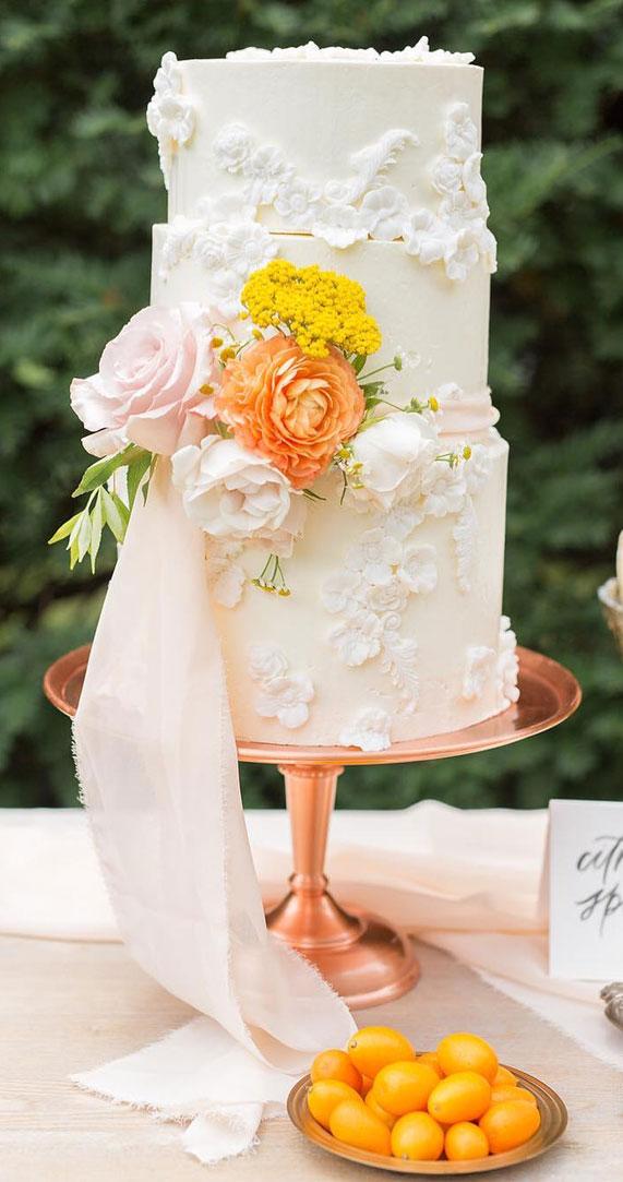 wedding cake, spring wedding cake, wedding cakes, best wedding cakes 2020 #weddingcake textured wedding cakes , wedding cake designs, ombre wedding cake, water color wedding cake