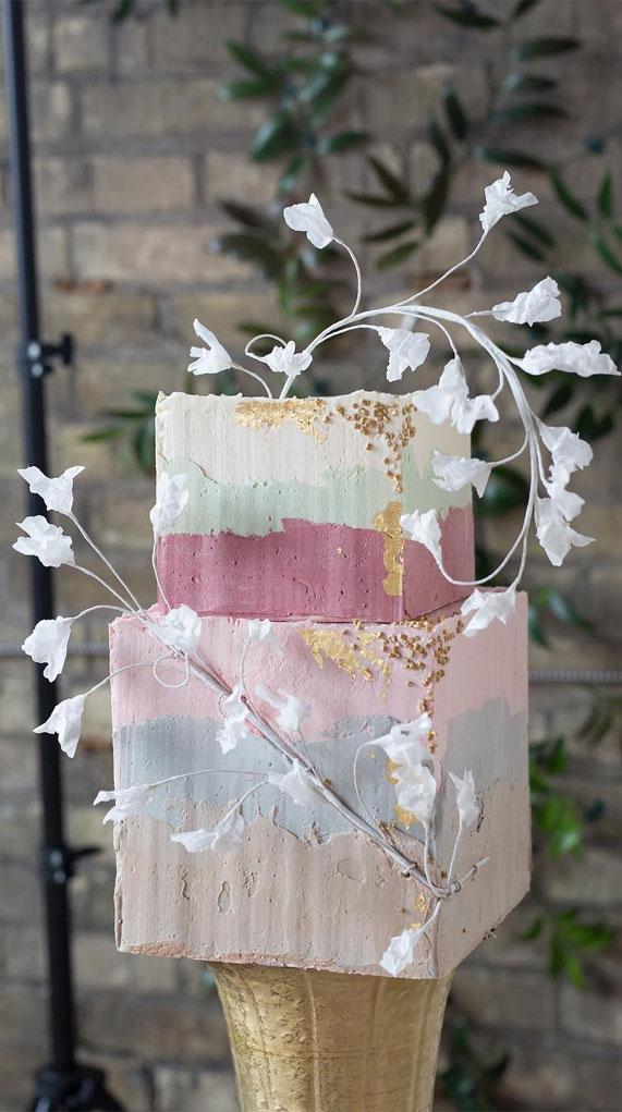 wedding cake, spring wedding cake, wedding cakes, best wedding cakes 2020 #weddingcake textured wedding cakes , wedding cake designs, ombre wedding cake, water color wedding cake, painted wedding cake, ombre wedding cake #ombre