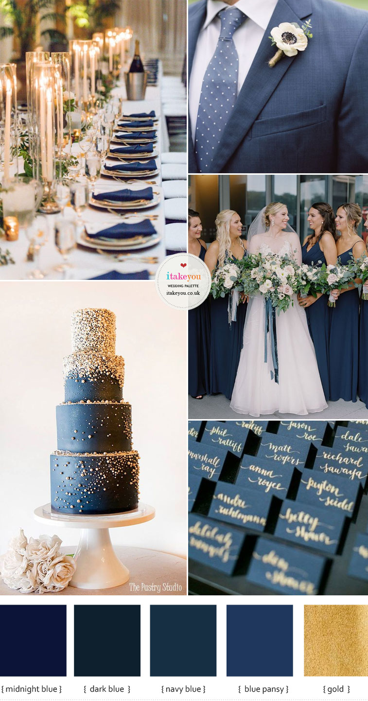 dark blue and gold wedding , blue and gold wedding , elegant wedding , wedding color , color palette , color inspiration #wedding #color #colorpalette #blue #weddingcolors