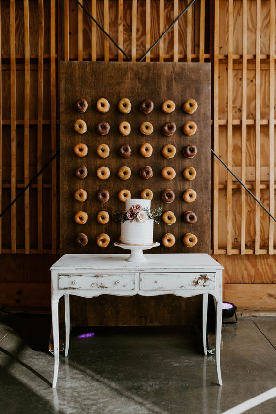 rustic wedding, dessert table, cake, rustic wedding decor, donuts wall #rusticwedding