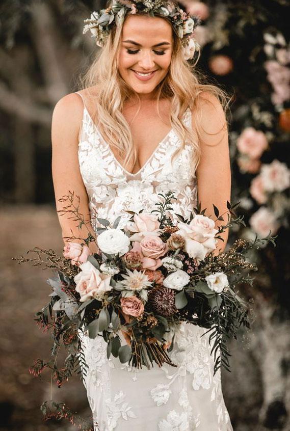 pretty wedding bouquet, bridal bouquet, soft romantic bouquet, white mauve bouquet, bridal bouquet mauve #bouquet
