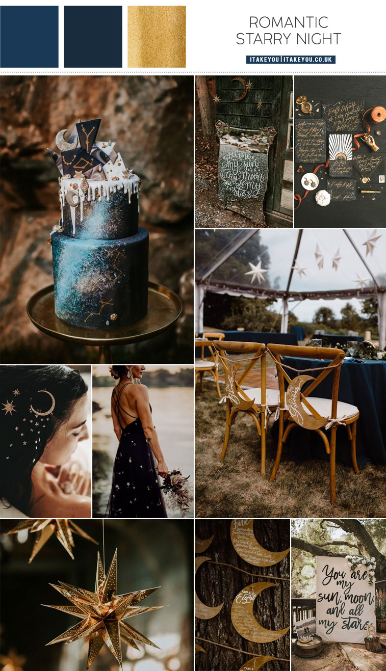 Dark Blue and Gold Color Palette for Celestial Wedding Theme