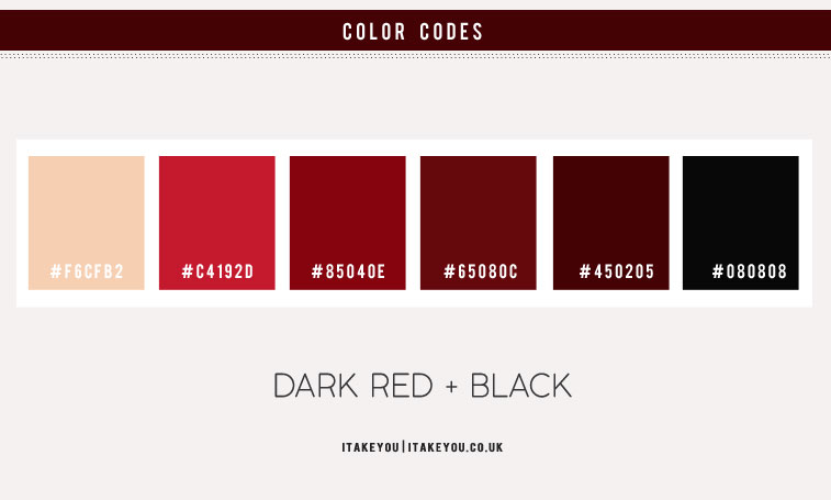 red pomegranate color palette, black and red color scheme, black and red color combos, color combos, deep red, dark red color combos