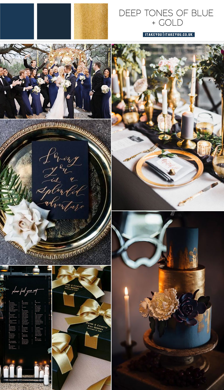 Deep tones of blue and gold color palette for winter wedding