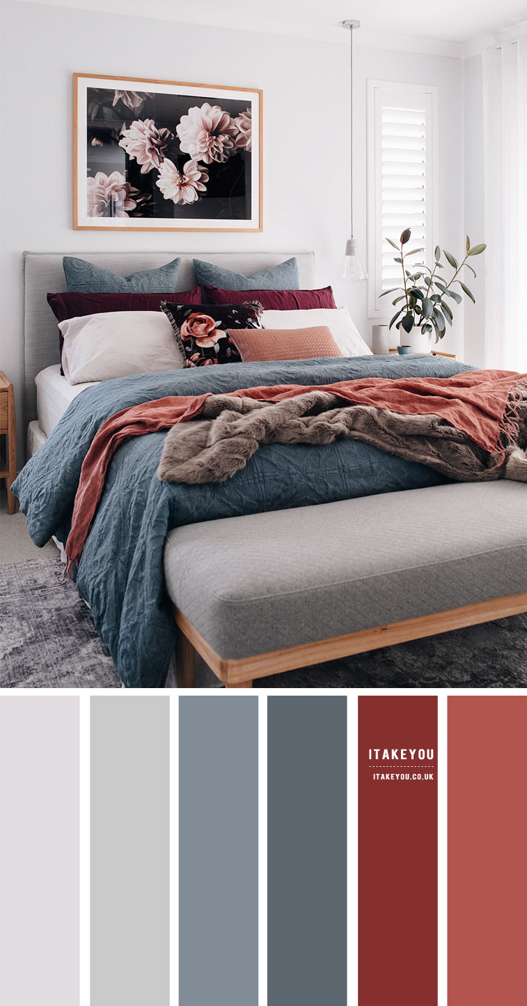 Grey Bedroom with Blue Grey and Terracotta accents