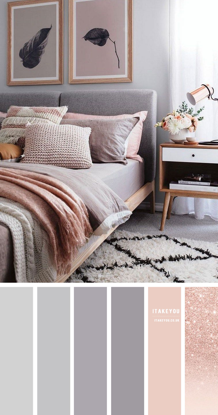 Grey and Rose Gold Bedroom