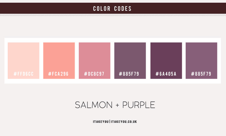 lavender and salmon color schemes , lavender and salmond color combos, pink salmon color #color #colorpalette purple and salmon color schemes, lavender and peach color palette