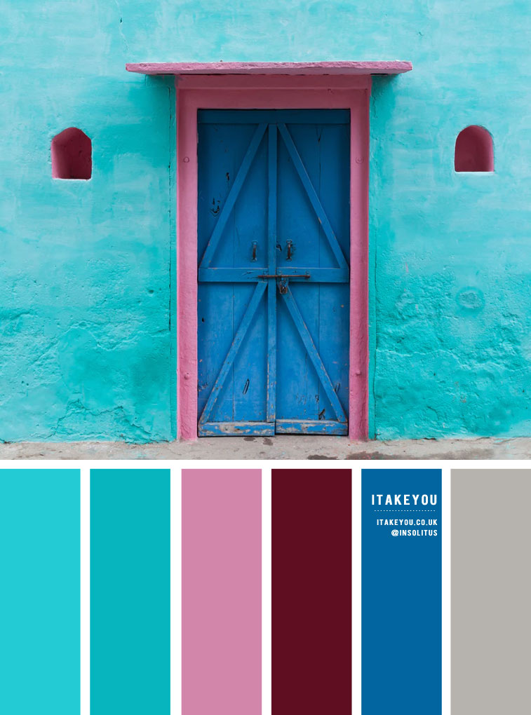 Color palette of Turquoise, blue , pink , deep red and grey accents