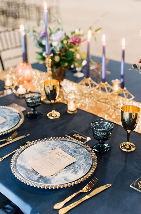 blue and gold wedding, wedding tablescape, wedding table decor #goldwedding #wedding wedding table
