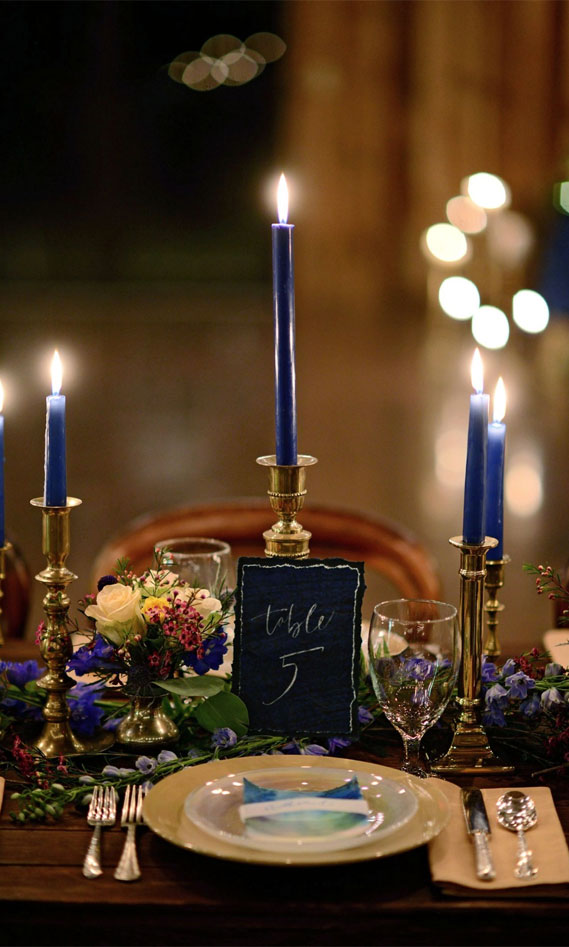 blue and gold wedding, wedding tablescape, wedding table decor #goldwedding #wedding wedding table , blue taper candle, gold wedding place setting