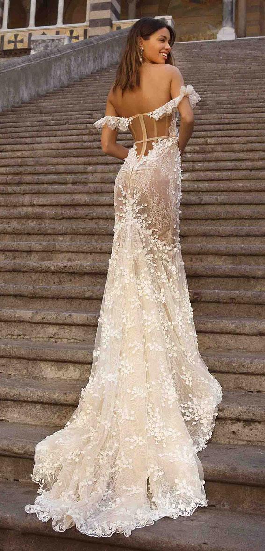 berta privee wedding dresses, berta privee bridal, berta bridal 2020, berta wedding dress , off the shoulder sweetheart neckline 3d floral applique mermaid wedding dress #wedding #weddingdress #bridedress #weddinggown