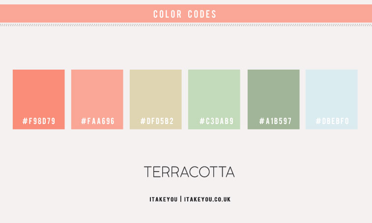 peach terracotta and mint green color scheme, terracotta and mint color palette, color combination, 4 colour combinations