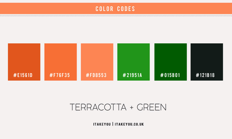 green and terracotta color scheme, green and terracotta color combination, green and orange color combo, color scheme, color combinations with terracotta